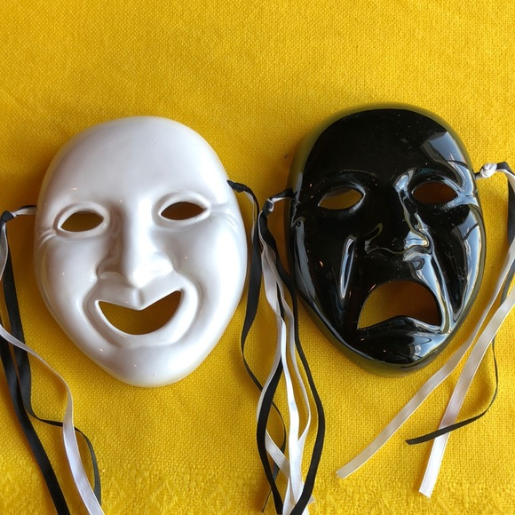 Vintage comedy and tragedy masks for wall decor